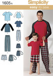 Simplicity 1605. Boys and Mens Loungewear.