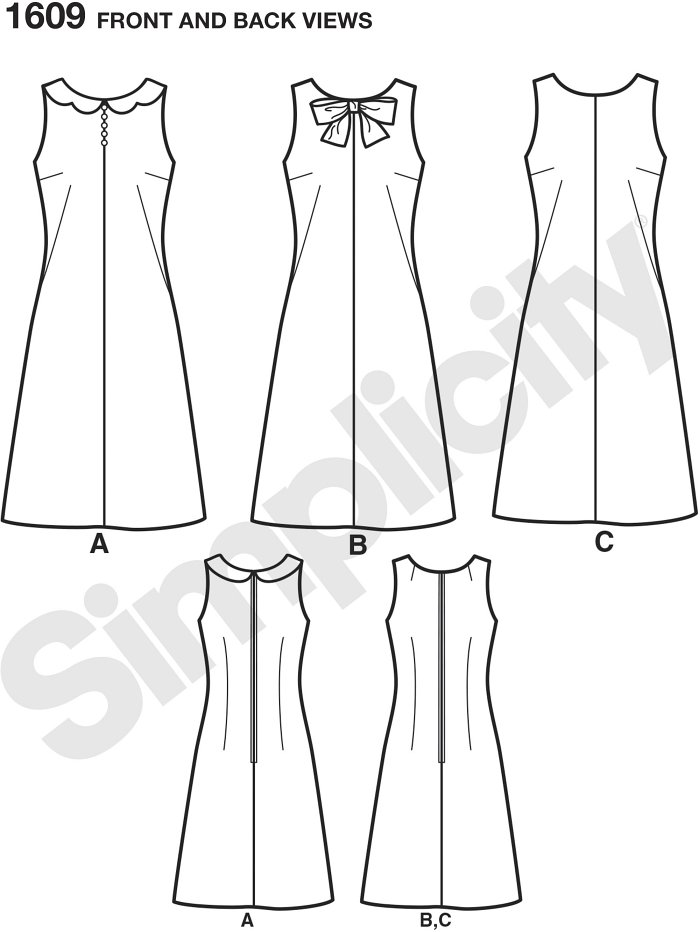 Misses´ dress with 1960´s flair. This sleeveless, modern take on the classic A-line dress has center font seam, dramatic darts for fitting and back zipper. Make this dress with a scalloped edge collar, neck bow or simple round neckline. 2 Main pattern pie