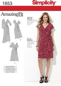 Simplicity 1653. Misses´ and Plus Sizes Amazing Fit Knit Dress.
