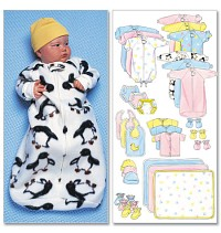 Jumpsuit, Shirt, Diaper Cover, Blanket, Hat, Bib, Mittens. Butterick 5583.