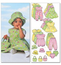 Infants Dress, Jumper, Romper, Jumpsuit, Panties, Hat and Bag. Butterick 5624.