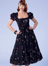 Petite Square-Neck, Zip-Front, Ruffled Dresses and Belt. Butterick 6352.