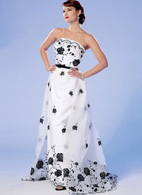 Strapless Dress, Detachable Train and Belt. Butterick 6353.