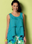 Butterick 6355. Double-Layer, Cold-Shoulder or Notch-Neck Tops.