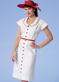 Button-Front, Flutter Sleeve Dresses and Sun Hats. Butterick 6363.