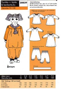 Tunic, dress and berberpants. Onion 20039.