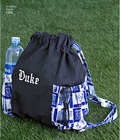 Tote bags come in three sizes and have convenient side pockets. Also make a drawstring backpack with side pockets, a change purse and a key ring. Support your team using our free downloadable collegiate letters.