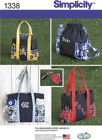 Tote Bags in Three Sizes, Backpack and Coin Purse. Simplicity 1338.