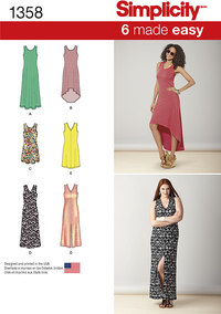 Misses´ Knit Dresses with Length and Neckline Variations. Simplicity 1358.