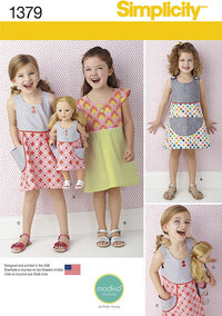 Child´s Dress and Dress for 18 inches Doll. Simplicity 1379.