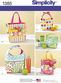 Art Caddies, Lunch Bags and Snack Bag. Simplicity 1385.