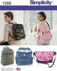 Backpacks and Messenger Bag. Simplicity 1388.