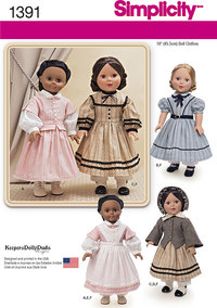 Civil War Doll Costume for 18 inches Doll. Simplicity 1391.
