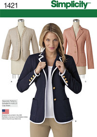 Misses Unlined Jacket with Collar and Finishing Variations. Simplicity 1421.