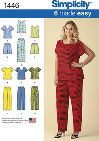 Six Made Easy Pull on Tops and Trousers or Shorts for Plus Size. Simplicity 1446.