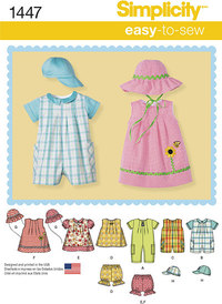 Babies Romper, Dress, Top, Panties and Hats. Simplicity 1447.