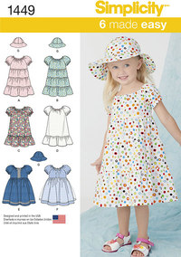 Toddlers Dress and Hat in Three Sizes. Simplicity 1449.