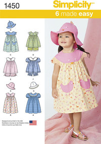 Toddlers Dress, Top, Panties and Hat. Simplicity 1450.
