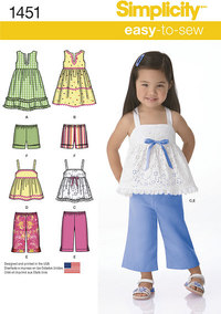 Toddlers´ Dresses, Top, Cropped Trousers and Shorts. Simplicity 1451.