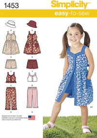 Child´s Dress, Top, Trousers or Shorts and Hat. Simplicity 1453.