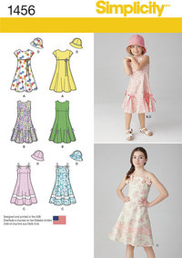 Child´s and Girls´ Dress with Bodice Variations and Hat. Simplicity 1456.