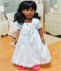"""Vintage style 18"""" doll clothes come with five dresses, two aprons, a slip and doll panties. Have fun adding trim and tulle to these outfits for some elegant charm. Simplicity sewing pattern by Cupcake Cutie Pie."""