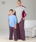 Get comfortable in this loungewear for husky boys and big and tall men. Pattern includes color block long sleeve knit top and drawstring Trousers or shorts with elastic waist. Trousers can be knit or woven. Note: If used as sleepwear, use Fabrics and Trim.