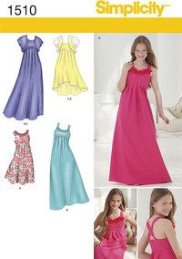 Girls and Girls Plus Special Occasion Dress. Simplicity 1510.