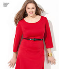 Misses´ and plus size dress in 3 lengths and sleeve variations. Individual patterns included for slim, average and curvy fit and cup sizes B, C, D for miss and C, D, DD for plus. Amazing Fit Collection by Simplicity.