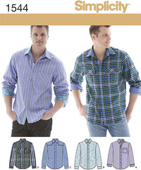 Men´s Shirt with Fabric Variations. Simplicity 1544.