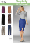 Misses´ slim Trousers and skirts each in two lengths. Make a classic long skirt with a slit or a knee length tapered pencil skirt. Trousers can be made to the ankle or capri. Simplicity sewing pattern.