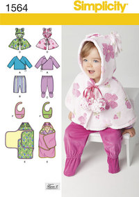 Babies´ Top, Trousers, Bib, and Blanket Wrap. Simplicity 1564.