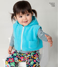 Babies´ overall, zip up jacket or vest, pull on Trousers, knit top, and hat. Simplicity sewing pattern.