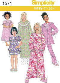 Child´s and Girl´s Loungewear Separates. Simplicity 1571.