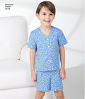 Child´s, girls´ and boys´ lounge-gown in two lengths, Trousers, shorts and pocketed shirt with sleeve variations. Simplicity sewing pattern.*Note: If used as sleepwear, use Fabrics and Trims that meet the Flammability Standards set by the U.S. Government.*