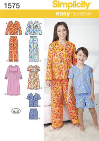 Child´s, Girl´s and Boy´s Loungewear. Simplicity 1575.