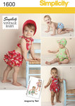 "Vintage baby romper, bikini with back ruffles, panties and bonnet in three sizes…S(17""), M(18""), L(19""). Simplicity archive sewing pattern."