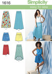 Misses´ knit or woven skirts feature flattering yokes with length and hemline variations. A, B, C suitable for knits can be made flared in maxi length or with hi-low hem or straight in knee length with front ruching detail. Pull on D, E suitable for woven