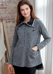 Loose-fitting pullover tops have front pockets, back casing with tie, and neckline and contrast variations.