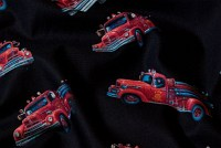 Black cotton with red fireengines
