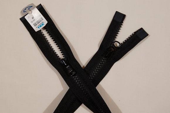 Black jacket zipper, 2-way-dividable, plastic, 6 mm wide, 75 cm long