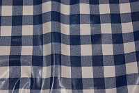 Blue and white 2.5 x 2.5 cm checkered coated fabric