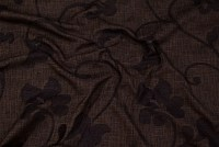 Brown opholstry-fabric in elegant black-embroidery flower pattern