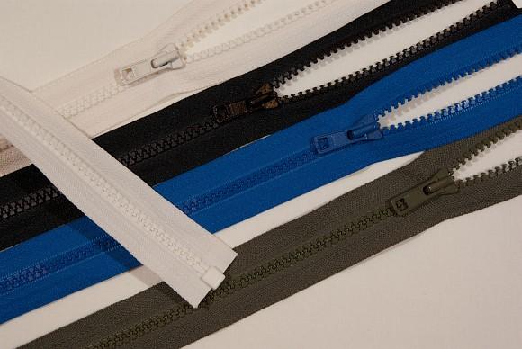 Jacket zipper, dividable, big plastic teeth, 6mm wide, 55 cm long