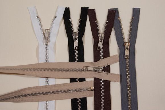 Jacket zipper, dividable, silver-metal, 6 mm wide, 65 cm long