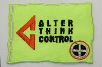 Neon yellow Alter Think Control iron on patch, 5 x 7.5 cm