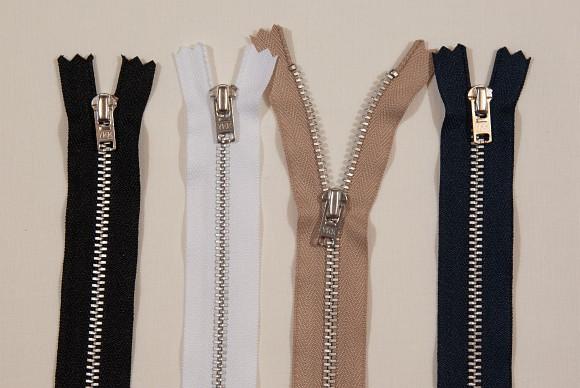 Pants zipper, metal, 4 mm wide, 20 cm long