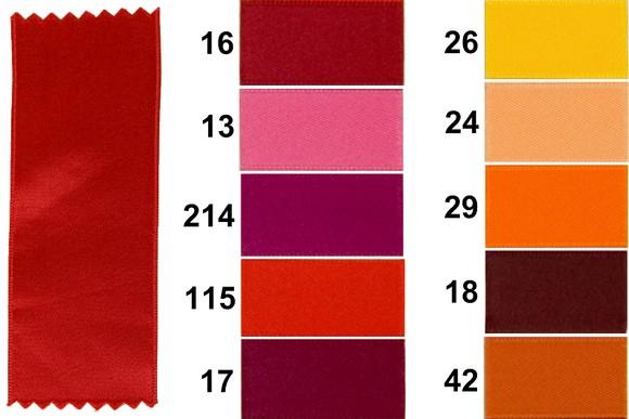 Sateen drapes, red-orange, 3 mm width