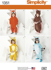 Toddlers´ Animal Costumes. Simplicity 1351.