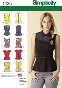 Misses´ Peplum Tops with Neckline Variations. Simplicity 1425.